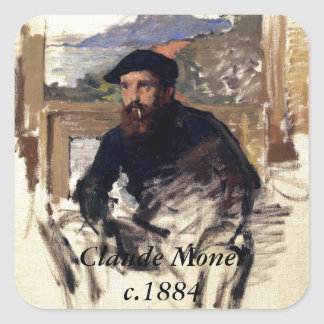 CLaUDE MoNET's SeLF PORTRAiT iN HiS ATELiER Square Sticker
