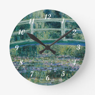 Claude Monet's Water Lilies and Japanese Bridge Round Clock