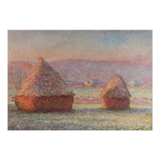 Claude Monet's White Frost Sunrise (1889) Poster