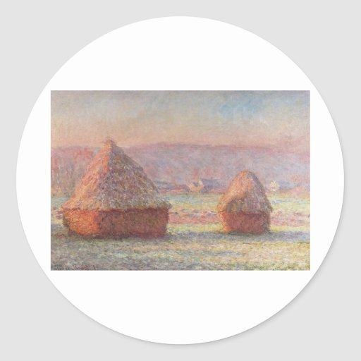 Claude Monet's White Frost Sunrise (1889) Round Stickers