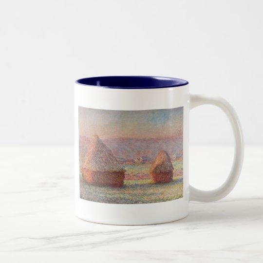 Claude Monet's White Frost Sunrise (1889) Two-Tone Coffee Mug