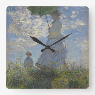 Claude Monet's Woman with a Parasol Square Wall Clock
