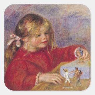 Claude Renoir en Play, 1905 Pegatina Cuadrada