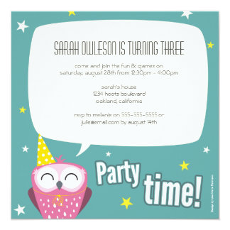 Claudette the Owl Kids Birthday Party Invitation