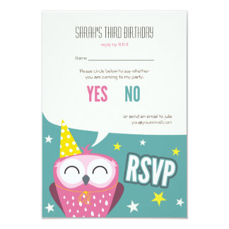 Claudette the Owl Kids Birthday Party RSVP 3.5x5 Paper Invitation Card