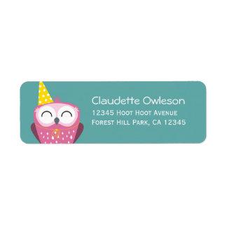 Claudette the Party Owl | Return Address Labels