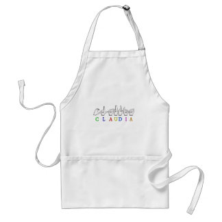 CLAUDIA FINGERSPELLED ASL SIGN ADULT APRON