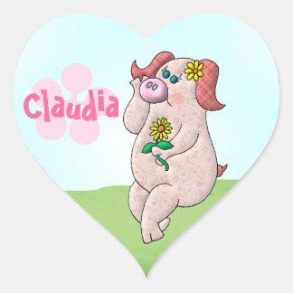 Claudia Pig Heart Sticker