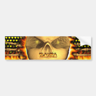 Claudia skull real fire and flames bumper sticker. bumper sticker