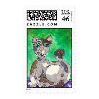 Claudia the Calico Cat Stamp
