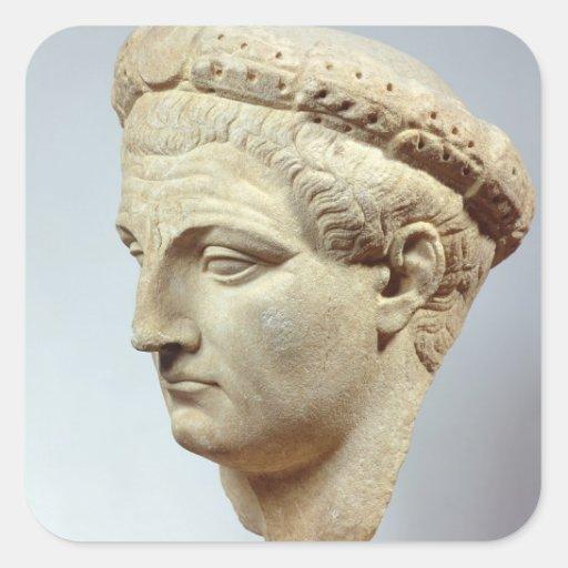Claudius, cabeza de mármol, ANUNCIO 41-54 Pegatina Cuadrada