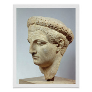 Claudius, marble head, 41-54 AD Poster