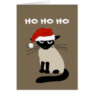 Cláusula siamesa del gatito - navidad divertido felicitaciones