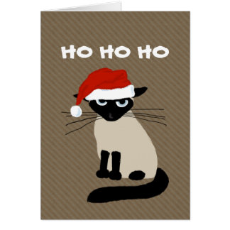 Cláusula siamesa del gatito - navidad divertido tarjeta pequeña