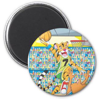 Clavada del baloncesto por el tigre, guardado por imán redondo 5 cm