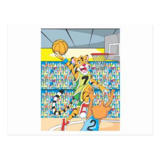 Clavada del baloncesto por el tigre, guardado por postal