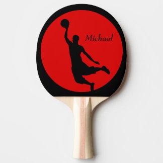 Clavada negra roja del baloncesto personalizada pala de ping pong
