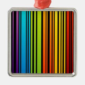 Clave de barras coloreadas del arco iris adorno cuadrado plateado