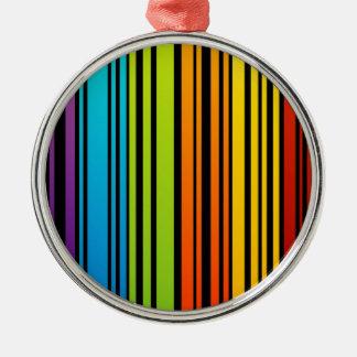 Clave de barras coloreadas del arco iris adorno redondo plateado