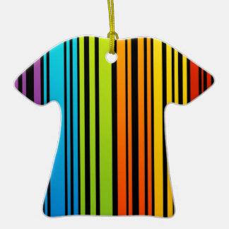 Clave de barras coloreadas del arco iris adorno de cerámica en forma de camiseta