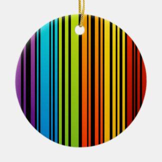 Clave de barras coloreadas del arco iris adorno redondo de cerámica
