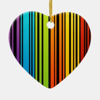Clave de barras coloreadas del arco iris adorno de cerámica en forma de corazón