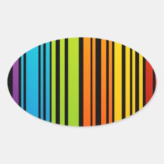 Clave de barras coloreadas del arco iris pegatina ovalada