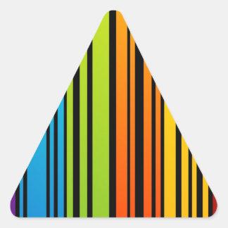Clave de barras coloreadas del arco iris pegatina triangular
