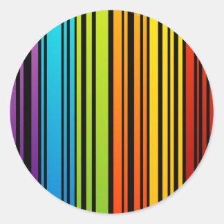 Clave de barras coloreadas del arco iris pegatina redonda