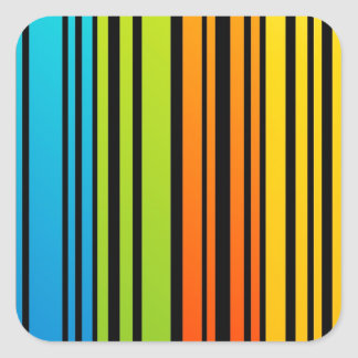 Clave de barras coloreadas del arco iris pegatina cuadrada