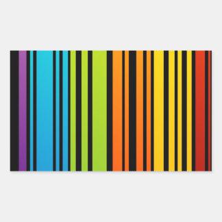 Clave de barras coloreadas del arco iris pegatina rectangular