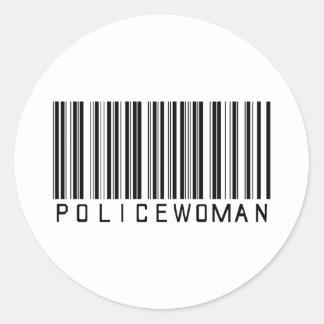 Clave de barras de la mujer policía pegatina redonda