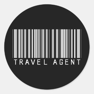 Clave de barras del agente de viajes pegatina redonda