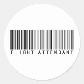 Clave de barras del asistente de vuelo etiqueta redonda