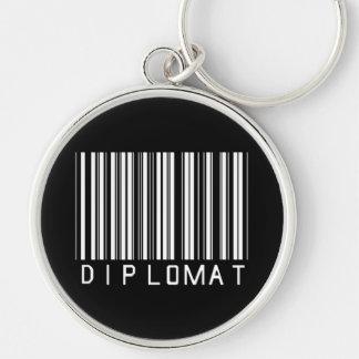 Clave de barras del diplomático llavero redondo plateado