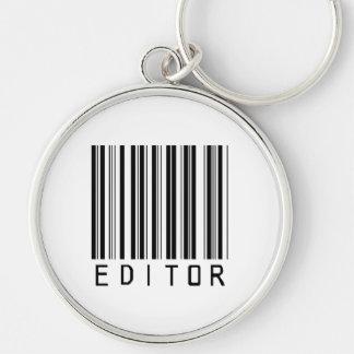 Clave de barras del redactor llavero redondo plateado