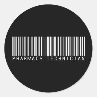 Clave de barras del técnico de la farmacia pegatina redonda