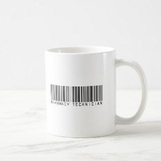 Clave de barras del técnico de la farmacia taza básica blanca