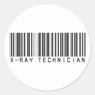 Clave de barras del técnico de la radiografía etiqueta redonda