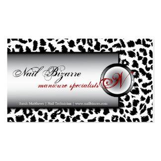 Clave la tarjeta de visita blanca negra del leopar