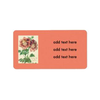 Clavel lindo del rojo de los niños etiquetas de dirección