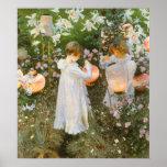 Clavel, lirio, lirio, subió, arte del Victorian de Impresiones