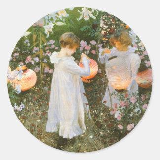 Clavel lirio lirio subió arte del Victorian de Etiqueta Redonda