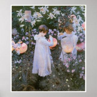 Clavel, lirio, lirio, subió, John Singer Sargent Posters