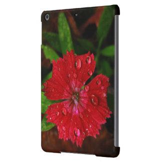 Clavel rojo con las gotas de agua funda para iPad air