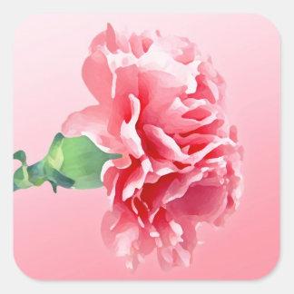 Clavel rosado pegatina cuadrada