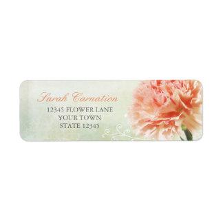 Clavel rosado suave etiqueta de remitente