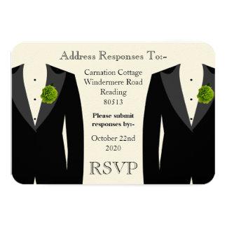 Clavel verde RSVP para un boda gay