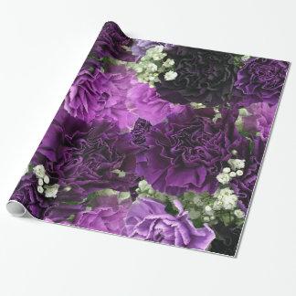 Claveles de la púrpura del ramo papel de regalo