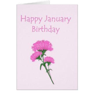 Claveles del cumpleaños de enero tarjeta de felicitación